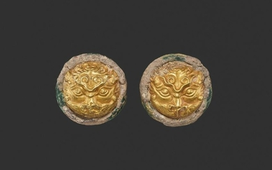 A PAIR OF GOLD REPOUSSE ORNAMENTS, WARRING STATES