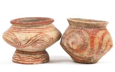 A PAIR OF IRON AGE POLYCHROME EARTHENWARE POTS FROM BAN CHAING, THAILAND