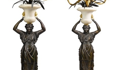 A PAIR OF ITALIAN PATINATED BRONZE AND GILT-BRONZE MARBLE THREE-LIGHT CANDELABRA, ROME LATE 18TH CENTURY