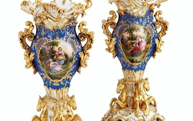 A PAIR OF JACOB PETIT PORCELAIN BLUE AND GOLD GROUND RETICULATED VASES ON STANDS, MID-19TH CENTURY, BLUE J.P. MARKS
