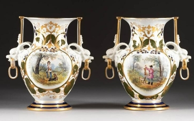 A PAIR OF PORCELAIN VASES WITH HUNTERS Russian