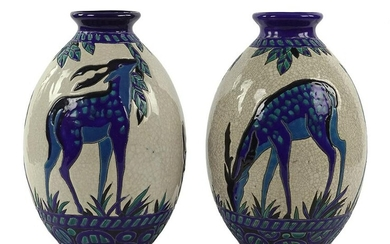 A Pair of Charles Catteau for Boch Freres Vases.