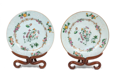 A Pair of Chinese Export Style Porcelain Plates with Stands