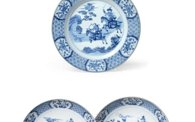 A Pair of Chinese Porcelain Saucer Dishes, Kangxi/Yongzheng, painted in...
