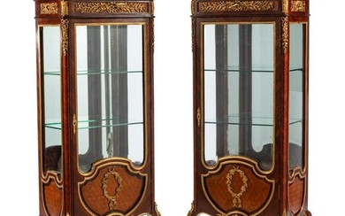 A Pair of Louis XV Style Gilt Bronze Mounted Vitrines