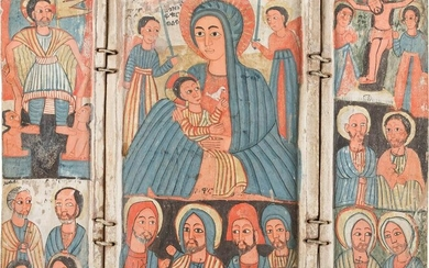 A RARE COPTIC TRIPTYCH SHOWING THE MOTHER OF GOD, THE