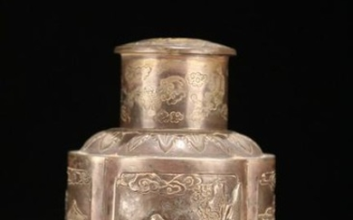 A SILVER CASTED STORY PATTERN JAR