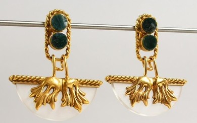 A SIMILAR PAIR OF SILVER GILT HARDSTONE AND CRYSTAL