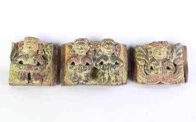 A Set of Three Graduated Probably Meso-American Carved Timber Panels, Possibly of Musicians. Largest (11x18cm)