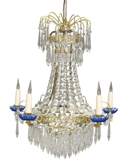 A Swedish gilt-brass and glass five-light chandelier, first half 20th...