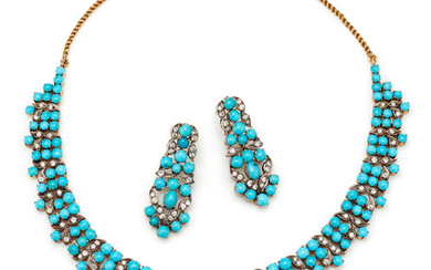 A Turquoise, Diamond and Gold Necklace and Pair of Earrings