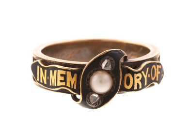 A Victorian Enameled Memento Mourning Hair Band