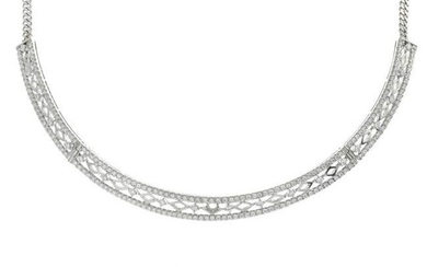 A brilliant-cut diamond necklace, with flat curb-link
