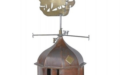 A copper and brass mounted weathervane