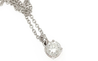 A diamond pendant set with a brilliant-cut diamond, mounted in 18k white gold. Accompanied by chain of 18k white gold. (2)