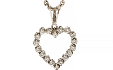 A diamond pendantset with numerous brilliant-cut diamonds, mounted in 14k white gold. Accompanied by a 14k white gold necklace. L. 2.2 and 40 cm. (2)