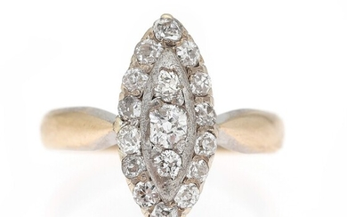 NOT SOLD. A diamond ring set with numerous old-cut diamonds, mounted in 14k gold and...