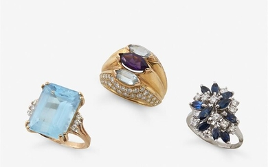 A group of three diamond or gem-set gold rings...