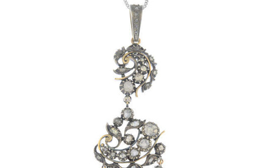 A late 19th century silver and gold rose-cut diamond pendant, with 9ct gold chain.