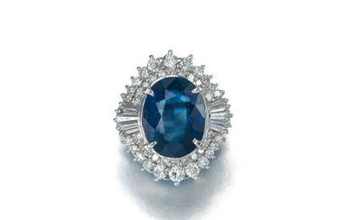 A natural sapphire and diamond ring
