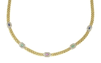 A necklace, set with gem and brilliant-cut diamond...