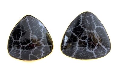 A pair of Continental fossilised coral gold earrings