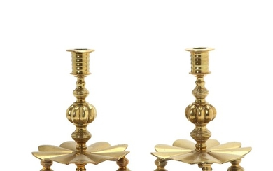 A pair of circa 1900 Baroque style brass candlesticks. H. 25 cm. (2)