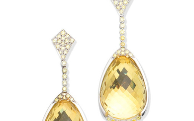 A pair of citrine and coloured diamond pendent earrings, by