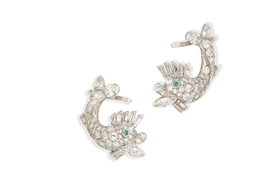 A pair of diamond and emerald dolphin earrings