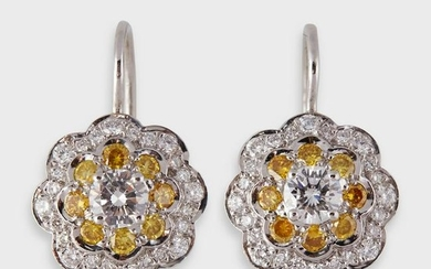 A pair of diamond, yellow diamond, and platinum drop