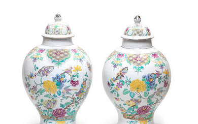 A pair of documentary Höchst faience vases and covers, circa 1750-53