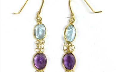A pair of gold assorted gemstone drop earrings