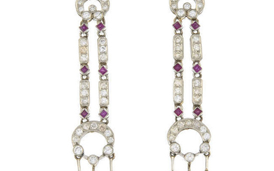 A pair of ruby and brilliant-cut diamond drop earrings.