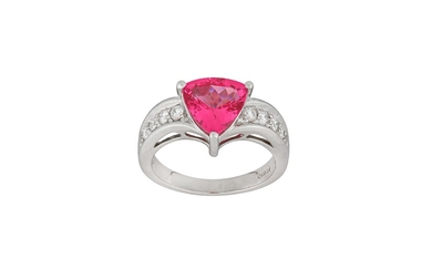 A pink spinel and diamond ring