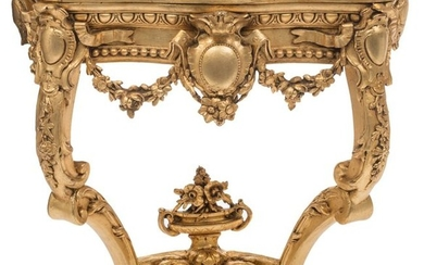 A richly sculpted gilt wooden Neoclassical console, 18thC,...