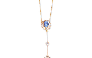 A sapphire and diamond pendent necklace