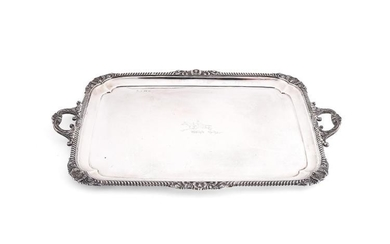 A silver large rounded rectangular twin handled tray by Elkington & Co.