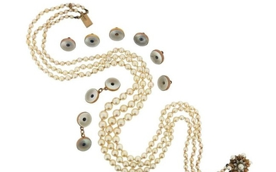 A three-row cultured pearl necklace, with a mother-of-pearl-set...