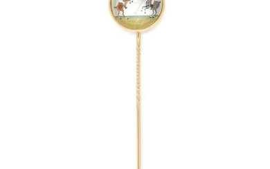 AN ANTIQUE ESSEX CRYSTAL POLO TIE PIN in yellow gold