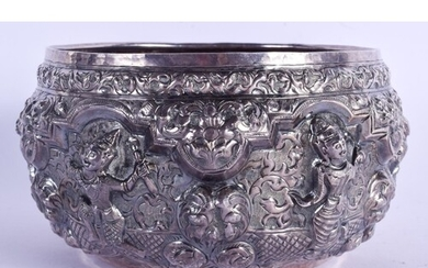 AN ANTIQUE MIDDLE EASTERN ASIAN SILVER BUDDHISTIC BOWL. 299 ...