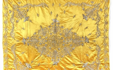 AN OTTOMAN YELLOW SILK WRAPPING CLOTH BOCHA, TURKEY