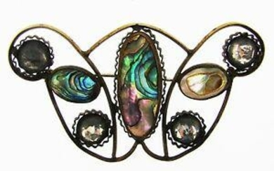 ARTS & CRAFTS Metal, Glass & Mother of Pearl Butterfly