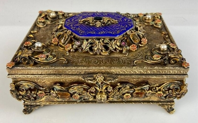 AUSTRO HUNGARIAN GOLD OVER SILVER JEWELED BOX
