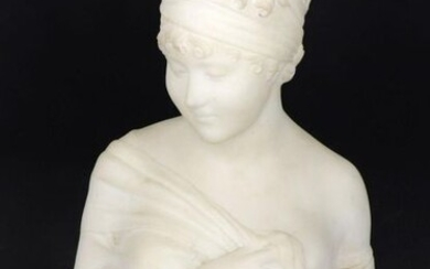 After Joseph CHINARD (1756-1813) - Bust in alabaster representing Madame Récamier (tiny chips on the base). Late 19th century, early 20th century. Height 32 cm