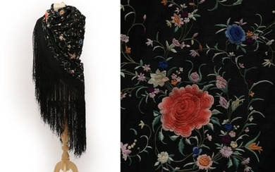 An Early 20th Century Chinese Black Silk Shawl, embroidered to...