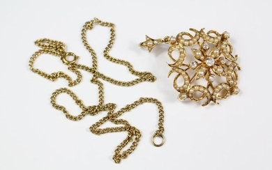 An Edwardian 18ct yellow gold, pearl and diamond floral...