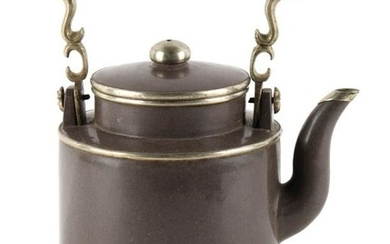 An early 20th century Chinese Yixing teapot, with white...