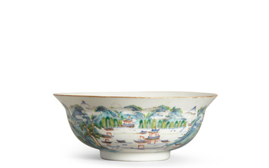 An enameled landscape bowl with flared rim