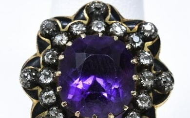 Antique 14kt Yellow Gold Diamond & Amethyst Ring