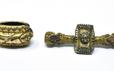 Antique 19th C Gold Topped Brooch & Slide Pendant